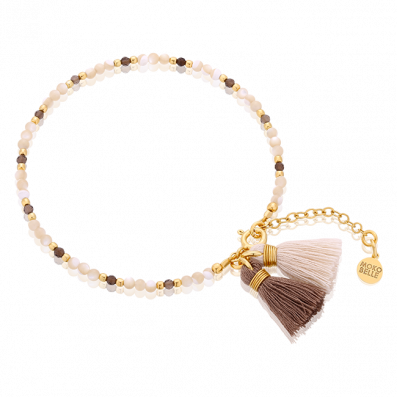 Pearls and quartzstones bracelet with tassels