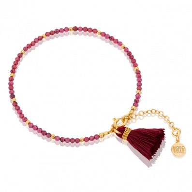 Garnets bracelet with burgundy tassel