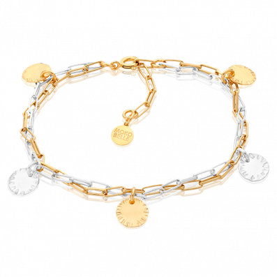 Gold-plated and silver chains bracelet with sequins