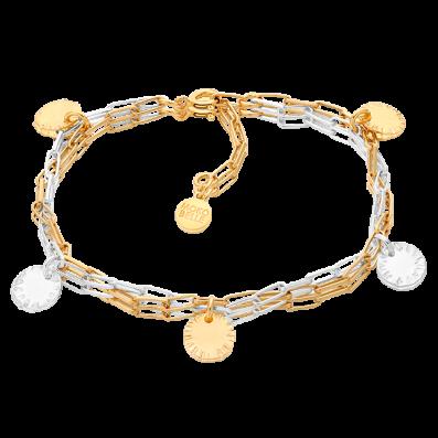 Srebrno-złota bransoletka z cekinami