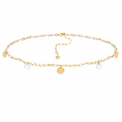 Gold-plated and silver chain necklace with sequins