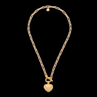 Naszyjnik łańcuch z sercem i ozdobnym zapięciem