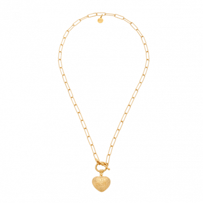 Necklace with heart pendant and decorative clasp