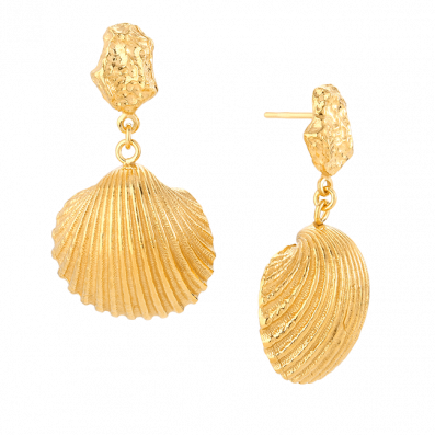Earrings with shell pendants