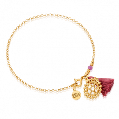 Chain bracelet with royal rosette and tassel