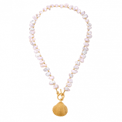 Pearl choker necklace with shell pendant