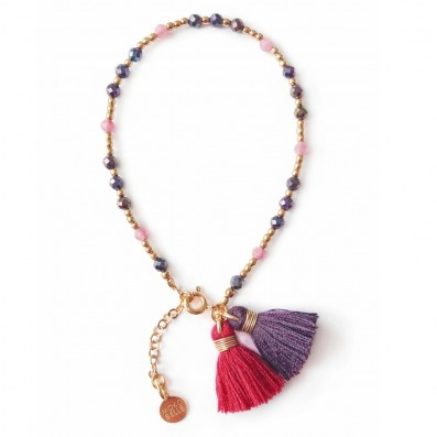 Bracelet with purple spinels, tourmalines and tassels