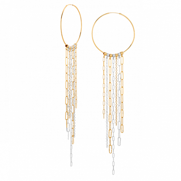 Hoop earrings with chains