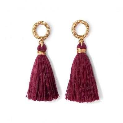 Earrings with burgundy tassels