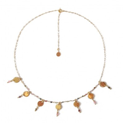 Choker with sequins and tourmalines