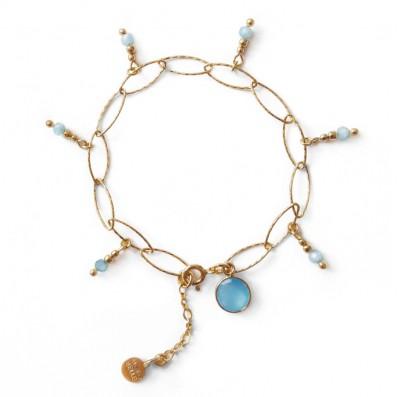Chain bracelet with aquamarines and jade stone