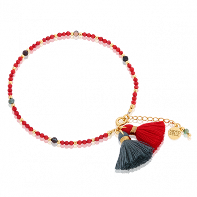 Red corals bracelet with chrysocolla stones and tassels