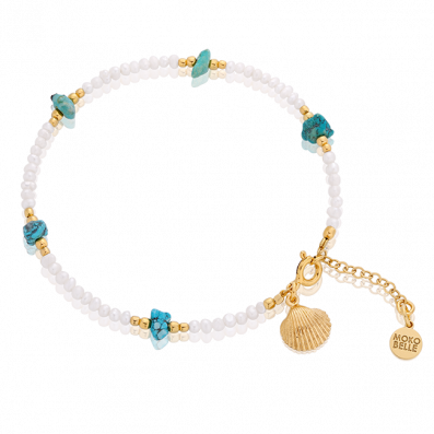 Pearls and turquoise bracelet with shell pendant