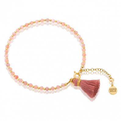 Sunstones bracelet with pink tassel