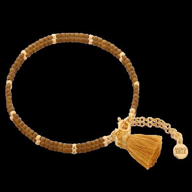 Bransoletka z brązowych hematytów z szafranowym chwostem
