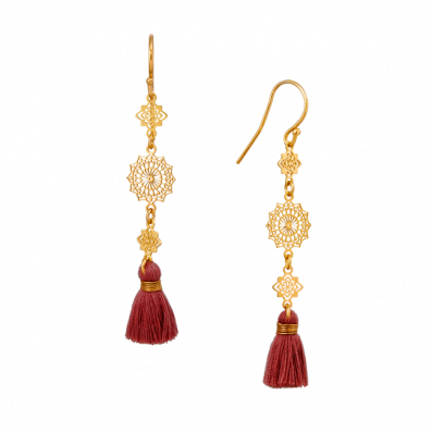 Kolczyki z ozdobnymi rozetkami z chwościkiem