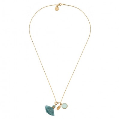 Necklace with feather pendant, jade stone and tassel