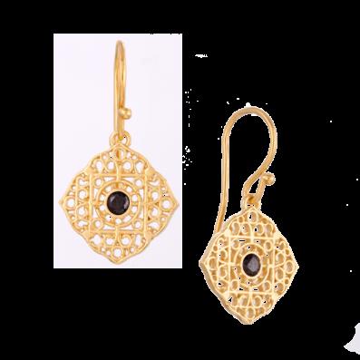 Kolczyki z rozetą Maroko i czarną cyrkonią