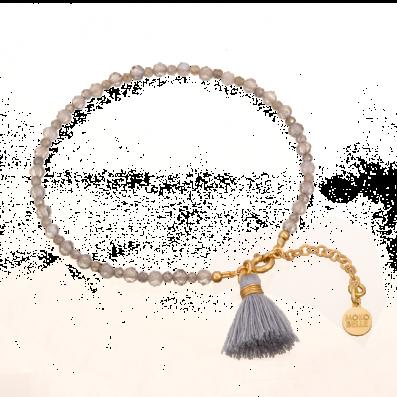 Bransoletka z szarych labradorytów z chwościkiem