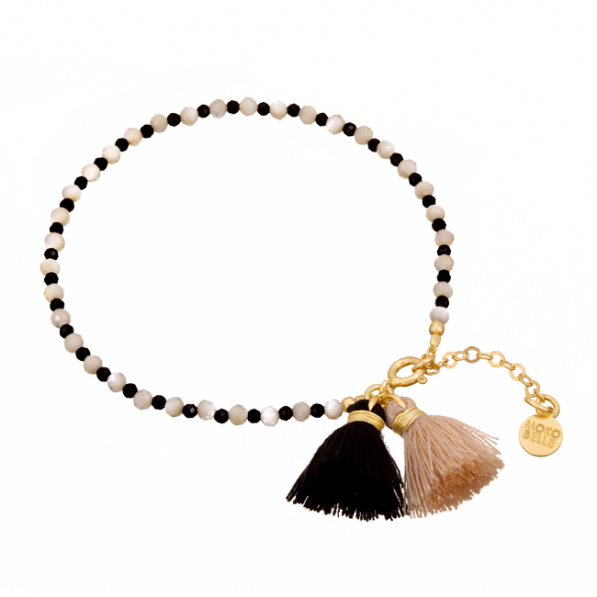 Nacre and spinels bracelet with tassels