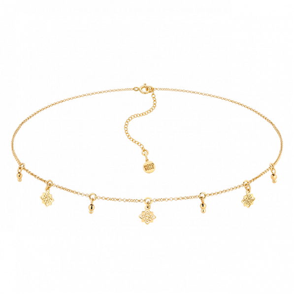 Gold-plated necklace with Dahlia rosettes and beads