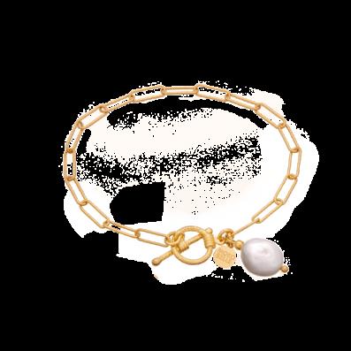 Bransoletka łańcuch z perłą