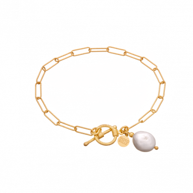 Chain bracelet with natural pearl