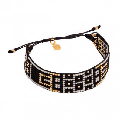 Creamy-black hand-woven beaded bracelet