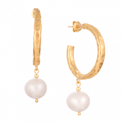 Hoop earrings with natural pearl