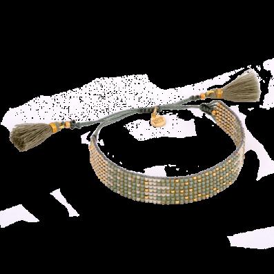 Miętowo-kremowa plecionka z chwostami