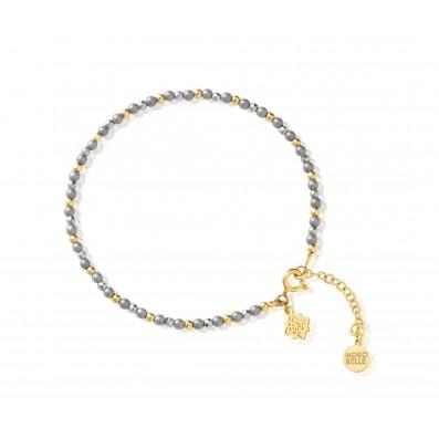 Grey hematite stones bracelet with Dahlia rosette