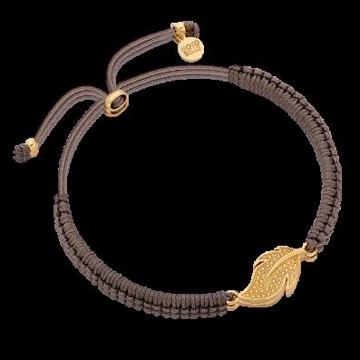 Thread bracelet with feather pendant
