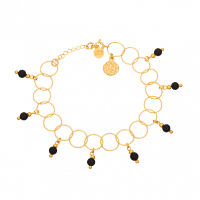 Bracelet made of gold-plated circles and onyx stones
