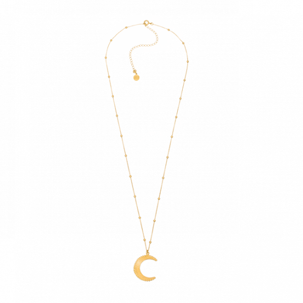 Chain necklace with gold-plated beads and Mona pendant