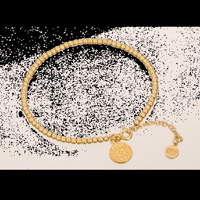 Bransoletka z pozłacanych kuleczek z zawieszką Mokobelle