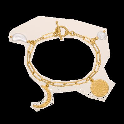 Bransoletka łańcuch z perłami i półksiężycem