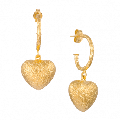 Hoop earrings with heart pendant