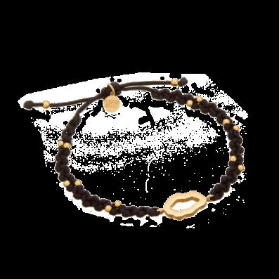 Czarna bransoletka warkoczyk ze złotymi kuleczkami