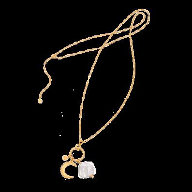 Długi naszyjnik łańcuch z półksiężycem i nieregularną perłą