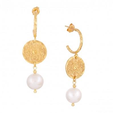 Hoop earings with Mokobelle pendant and pearl