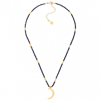 Sapphire choker with crescent moon pendant