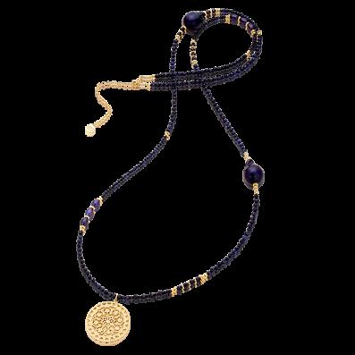 Długi naszyjnik z szafirów i ciemnych pereł z rozetą Macarena