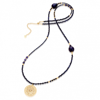 Long necklace with sapphires and dark pearls with Macarena rosette