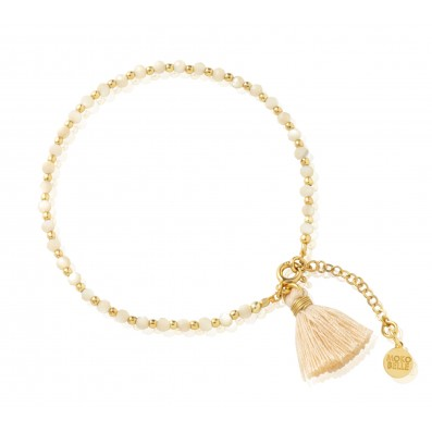 Pearl mass and gold-plated beads bracelet