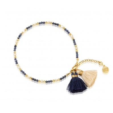 Sapphire and pearl mass bracelet with two tassels