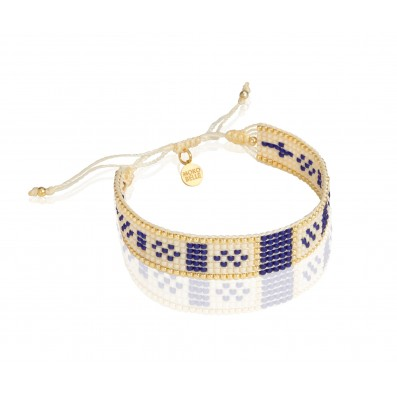 Beige-cobalt woven beaded bracelet