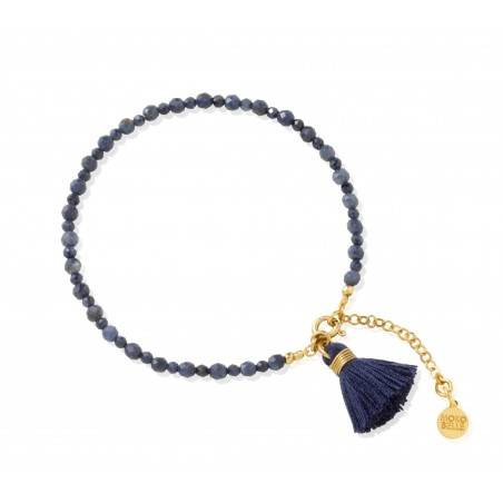 Navy blue bracelet with sapphire and tassel