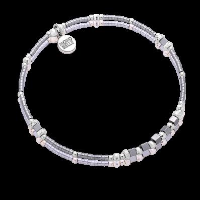 Srebrna bransoletka z szarych hematytów