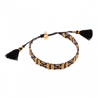Golden-black woven beaded bracelet with two tassels