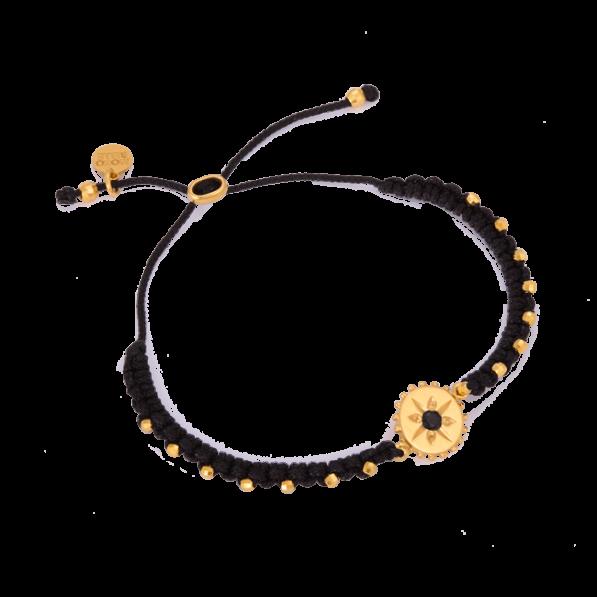 Czarna bransoletka warkoczyk z rozetką ze spinelem